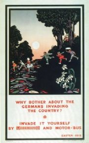 Vintage London underground poster - Why bother about the Germans invading the country